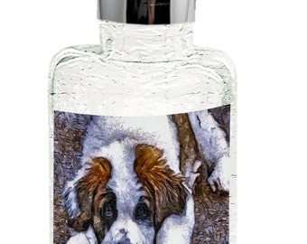 Saint Bernard 'Sontuc'  Glass Soap/lotion Dispenser By Doggylips - 2 Sizes Available