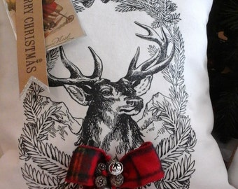 North Pole/Reindeer Pillow ...Joyeux Noel Pillow