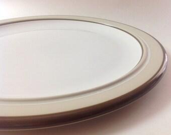 Arita Genesis Beige Japan Chop Plate, Round Platter, 1980s Japanese China Chop Plate Platter