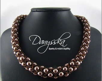 Brown Beadwoven Necklace