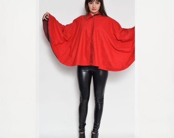Vintage 80's Red Cape With Buttons