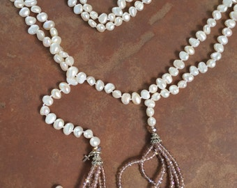 Fresh Water Pearl Wrap Around Necklace with Champagne Beaded Tassel