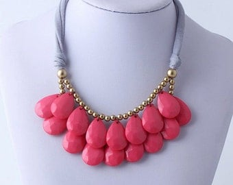 Anthropologie PInk Necklace, Bib Necklace, Pink Statement Necklace, Teardrop Necklace, Statement Necklace