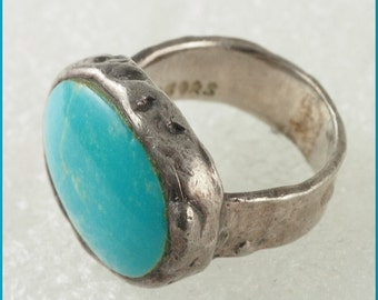 ON SaLe Vintage Signed PB PQ Sterling Silver Turquoise Ring