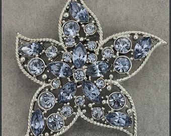 Vintage Silver Tone Starfire Starfish Sarah Coventry Blue Rhinestone Brooch