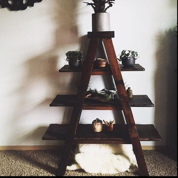 Rustic Ladder Shelf, A-Frame Shelf, Rustic bookshelf, Reclaimed Wood ...