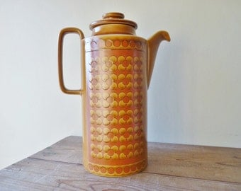 Tall 1970s Saffron Coffee Pot from Hornsea Pottery, England, designed by John Clappison