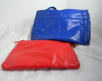 BRIGHT COLORED CLUTCH Purses two Vintage 1980s Clutch Style Purses One Bright Blue One Bright Red