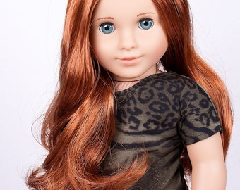 Made to order Custom OOAK blue eyes Marie Grace American Girl Doll 18'' with red color American Girl doll wig, nude doll