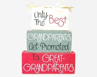 Grandparents Get Promoted to Great Grandparents Pregnancy Announcement WoodenBlock Shelf Sitter Stack