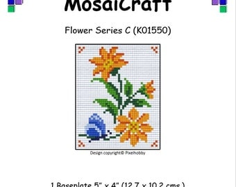 MosaiCraft Pixel Craft Mosaic Art Kit 'Flower Series C' (Like Mini Mosaic and Paint by Numbers)