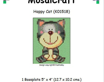 MosaiCraft Pixel Craft Mosaic Art Kit 'Happy Cat' (Like Mini Mosaic and Paint by Numbers)