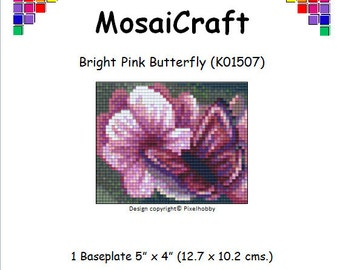 MosaiCraft Pixel Craft Mosaic Art Kit 'Bright Pink Butterfly' (Like Mini Mosaic and Paint by Numbers)