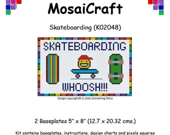 MosaiCraft Pixel Craft Mosaic Art Kit 'Skateboarding' (Like Mini Mosaic and Paint by Numbers)