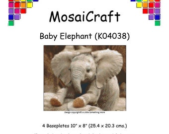 MosaiCraft Pixel Craft Mosaic Art Kit 'Baby Elephant' (Like Mini Mosaic and Paint by Numbers)