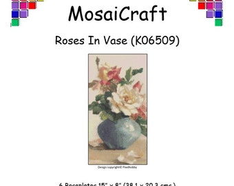 MosaiCraft Pixel Craft Mosaic Art Kit 'Roses In Vase' (Like Mini Mosaic and Paint by Numbers)