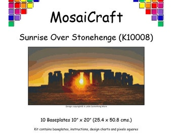 MosaiCraft Pixel Craft Mosaic Art Kit 'Sunrise Over Stonehenge' (Like Mini Mosaic and Paint by Numbers)