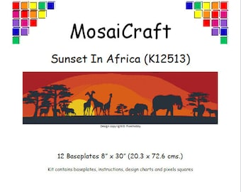 MosaiCraft Pixel Craft Mosaic Art Kit 'Sunset In Africa' (Like Mini Mosaic and Paint by Numbers)