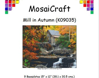 MosaiCraft Pixel Craft Mosaic Art Kit 'Mill In Autumn' (Like Mini Mosaic and Paint by Numbers)