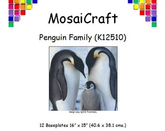 MosaiCraft Pixel Craft Mosaic Art Kit 'Penguin Family' (Like Mini Mosaic and Paint by Numbers)