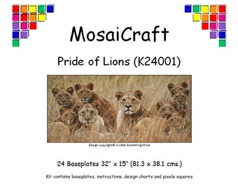 MosaiCraft Pixel Craft Mosaic Art Kit 'A Pride Of Lions' (Like Mini Mosaic and Paint by Numbers)