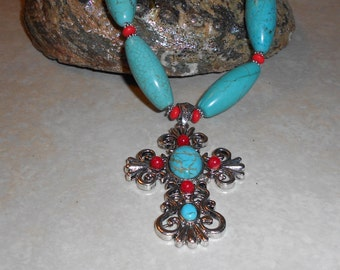 OOAK Turquoise Beaded Necklace and Earring Set