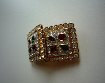Vintage Swarovski Swan Crystal Multi-Colored Gold Tone Square Clip On Earrings