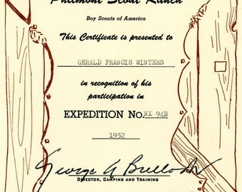 1952 Boy Scouts Of America Philmont Scout Ranch Certificate Of Participation