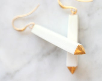 Maghara white. Porcelain and gold earrings, glazed. Porcelain jewelry. Ceramic jewellery