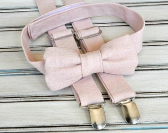 Linen Blush Bow Tie and Suspenders for Men, Youth, Boys