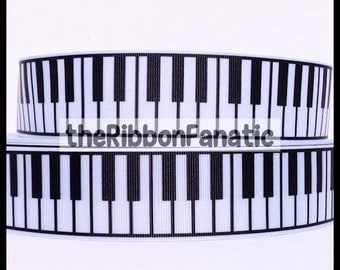 "5 yds 1.5"" Black and White Piano Keys Grosgrain Music Ribbon"
