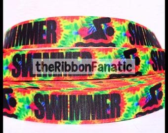 """5 yds 7/8"""" Swimmer on Tie Dye Grosgrain Ribbon"""