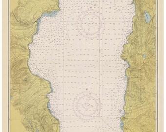 Lake Tahoe 1951 Nautical Map  Reprint California - Inland Lakes