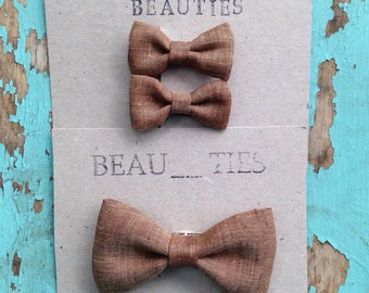 Girls hair bow boys bow tie brother sister set brown linen