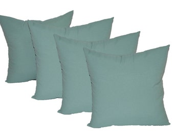 "Set of 4 - 20"" Solid Spa / Aqua Decorative Throw Pillows ~ Indoor / Outdoor Fabric"