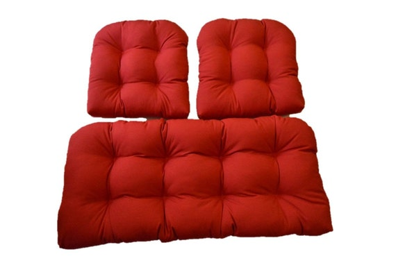 indoor outdoor wicker cushion 3 pc set cherry red love seat