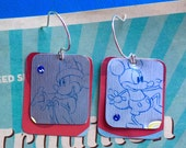 SALE... Mickey mouse earrings; Disney inspired jewelry; vintage metal; upcycled tin; candy tin; upcycled candy tin; Disneyland jewelry; Mick