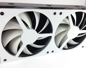 Custom laser cut white 240mm fan grill with 15mm spacing