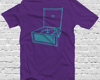 vintage oldschool record player music t shirt