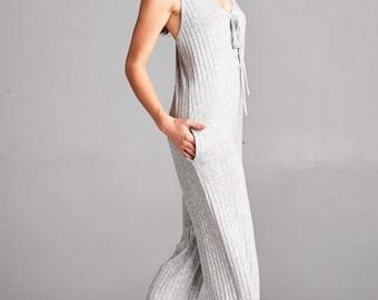 Gray Jumpsuit, Heather Gray Jumpsuit, Heather Grey Jumpsuit, Boho Romper, Heather Romper, Gray Romper, Knit Jumpsuit, Romper, Knit Romper,