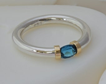 London Blue Topaz Tension Set Ring in Sterling Silver.