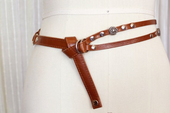 SALE - DRAGONFLY - thin and double leather belt, tie at the waist - tan brown