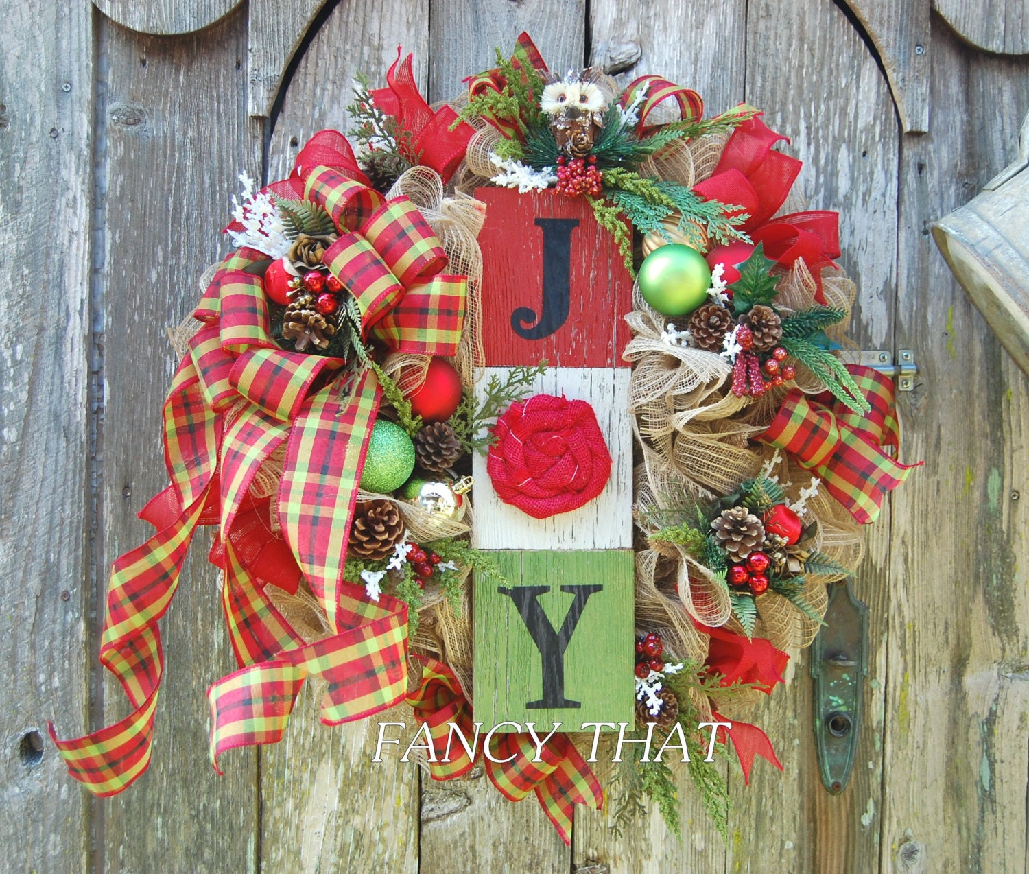 Reduced Christmas Decorations: REDUCED Christmas Joy Wreath Deco Mesh Joy Wreath
