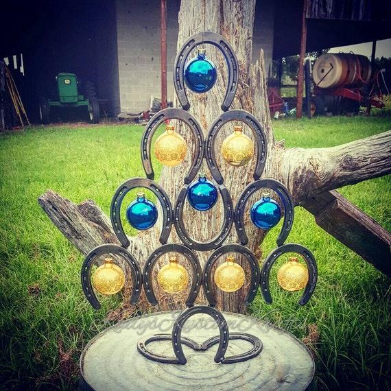 Items similar to fall decor seasonal decor christmas for Christmas tree made out of horseshoes