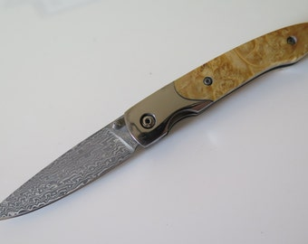 VG10 San Mai Damascus folding pocket knife, Stabilized Box elder burl handle, VG10 core liner lock, sharp, handmade