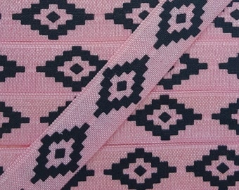 5/8  Peony with Black Ink Aztec Fold Over Elastic