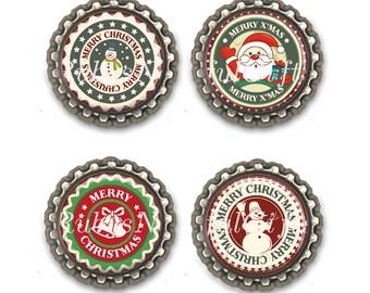 Christmas Bottle Cap Magnets, Bottlecap magnets,  fridge magnets, refridgerator magnets, Birthday Gift, Set of 4, Snowmen, Xmas.