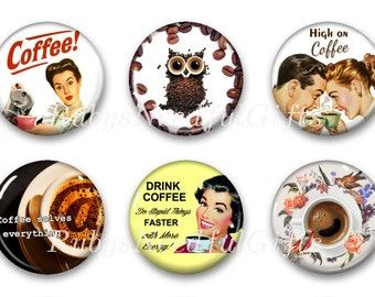 Coffee Magnets, Button Magnets, Fridge Magnets, Retro Coffee Magnets, 1 1/4 inch, Best friends gift, Hostess Gift, SET OF 6, Coffee 4.