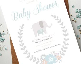 Baby Shower Elephant Invite