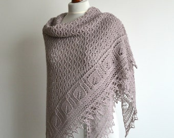 Heather hand knitted lace shawl silk alpaca triangular wrap handmade